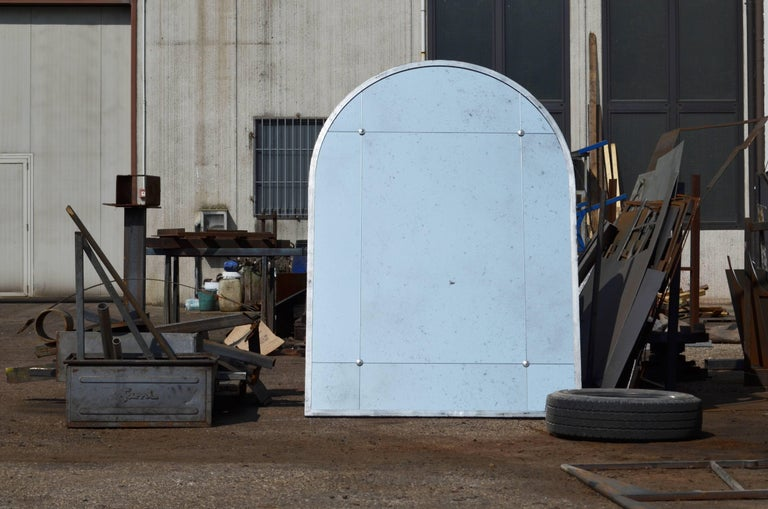 Industrial Style Silver Iron Frame Paneled Aged Glass Rounded Edges Mirror In New Condition For Sale In Milano, IT