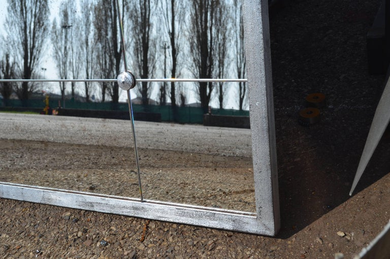 Industrial Style Silver Iron Frame Paneled Aged Glass Rounded Edges Mirror For Sale 1