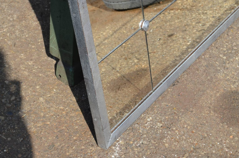 Industrial Style Silver Iron Frame Paneled Aged Glass Rounded Edges Mirror For Sale 2