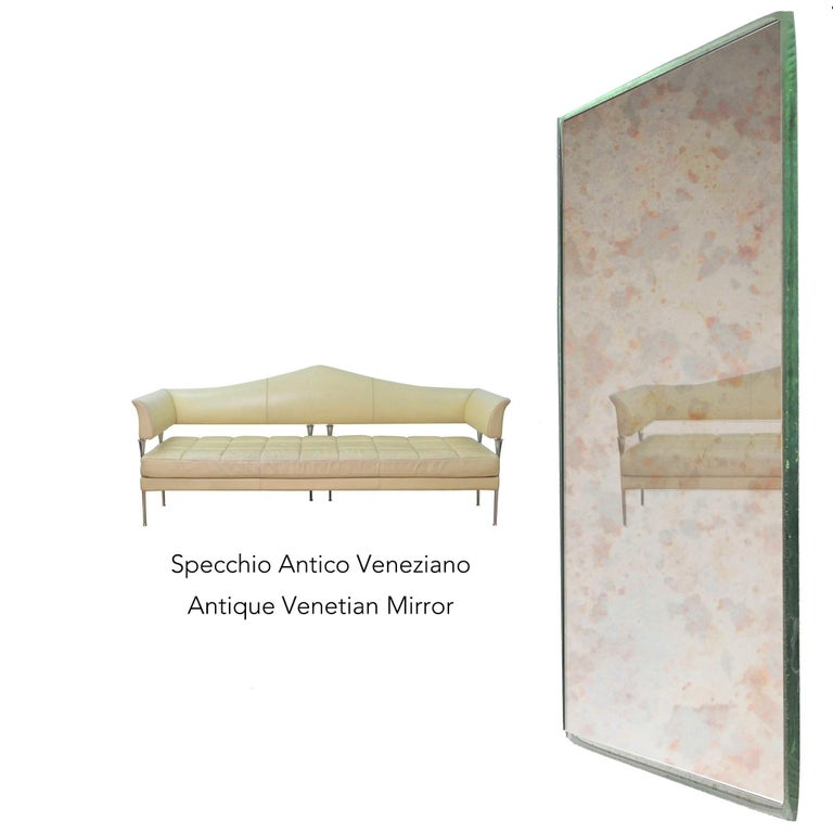 Industrial Style Silver Iron Frame Paneled Aged Glass Rounded Edges Mirror For Sale 6