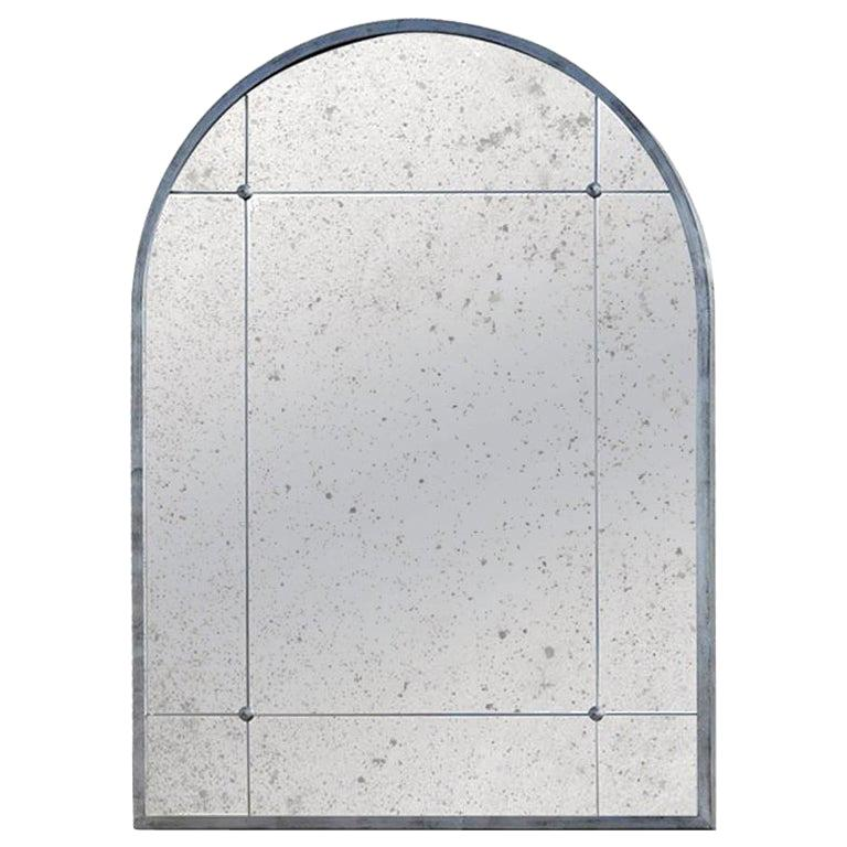 Industrial Style Silver Iron Frame Paneled Aged Glass Rounded Edges Mirror For Sale