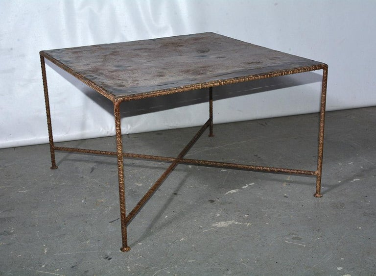 Rustic square metal coffee table can be used indoor or outdoors, garden or patio. Great size, great metal patina.