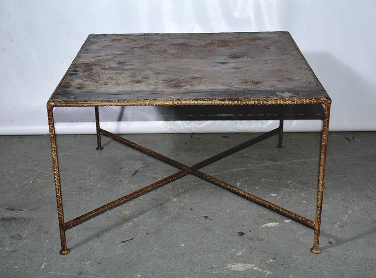 Dutch Industrial Style Square Metal Coffee Table For Sale