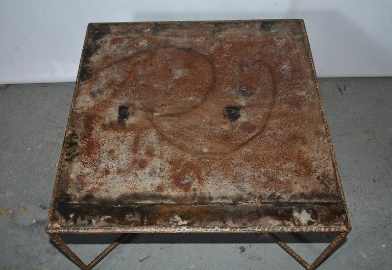 Hand-Crafted Industrial Style Square Metal Coffee Table For Sale