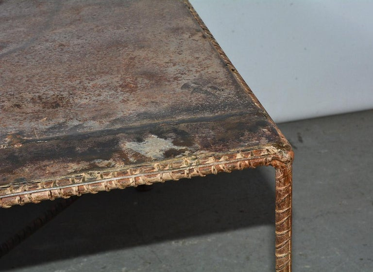 Industrial Style Square Metal Coffee Table In Good Condition For Sale In Great Barrington, MA