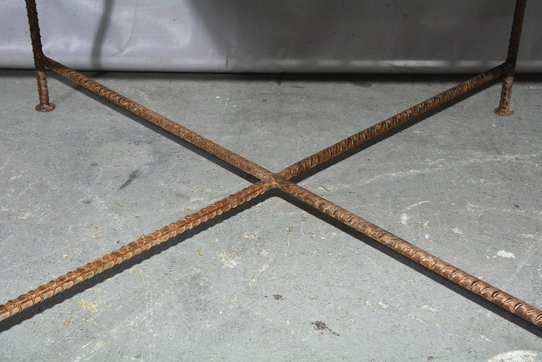 20th Century Industrial Style Square Metal Coffee Table For Sale