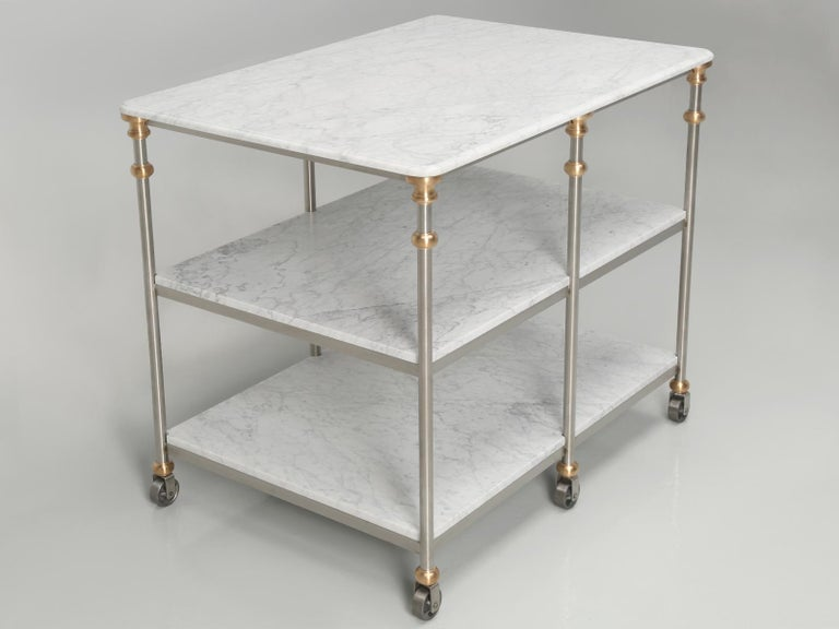 American Industrial Style Stainless and Bronze Kitchen Island with Carrara Marble Shelves For Sale