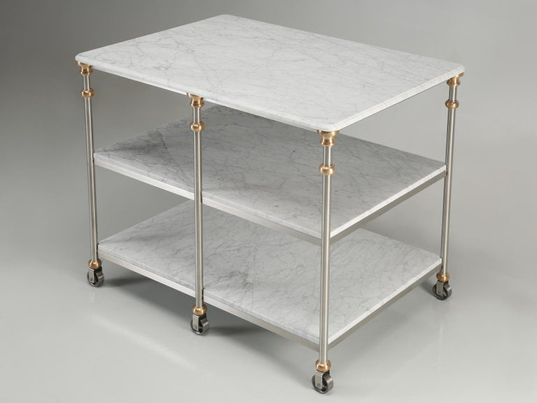 Hand-Crafted Industrial Style Stainless and Bronze Kitchen Island with Carrara Marble Shelves For Sale