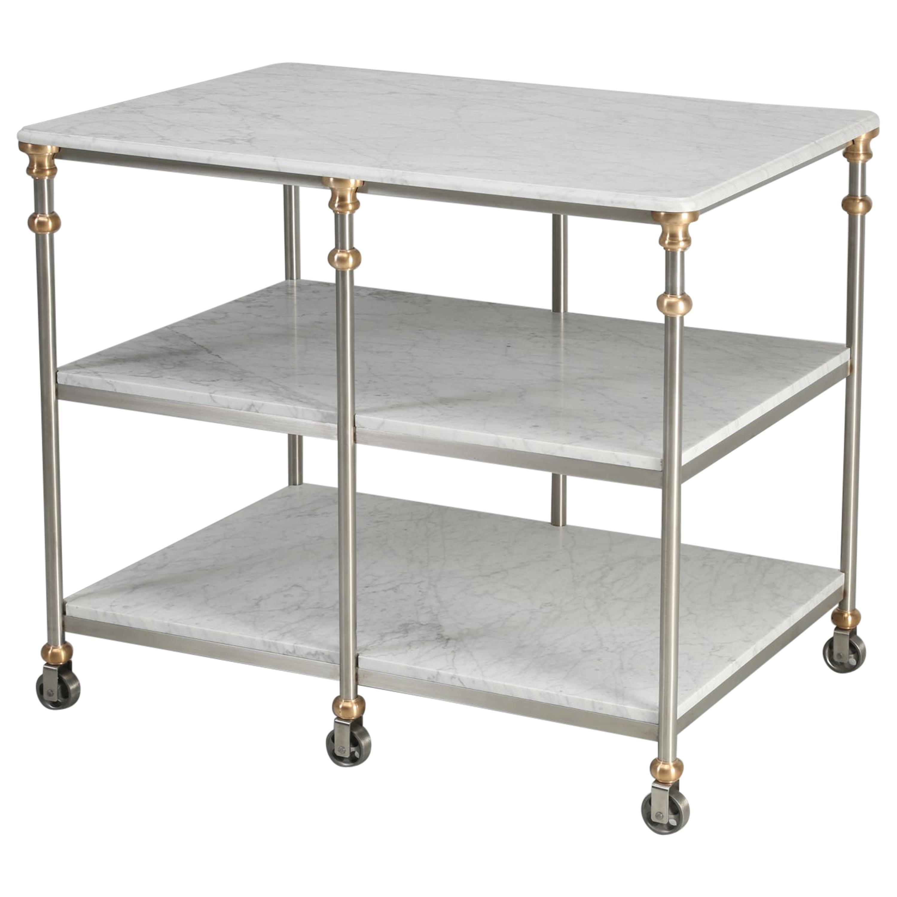 Industrial Style Stainless and Bronze Kitchen Island with Carrara Marble Shelves