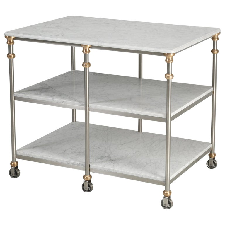Industrial Style Stainless and Bronze Kitchen Island with Carrara Marble Shelves For Sale