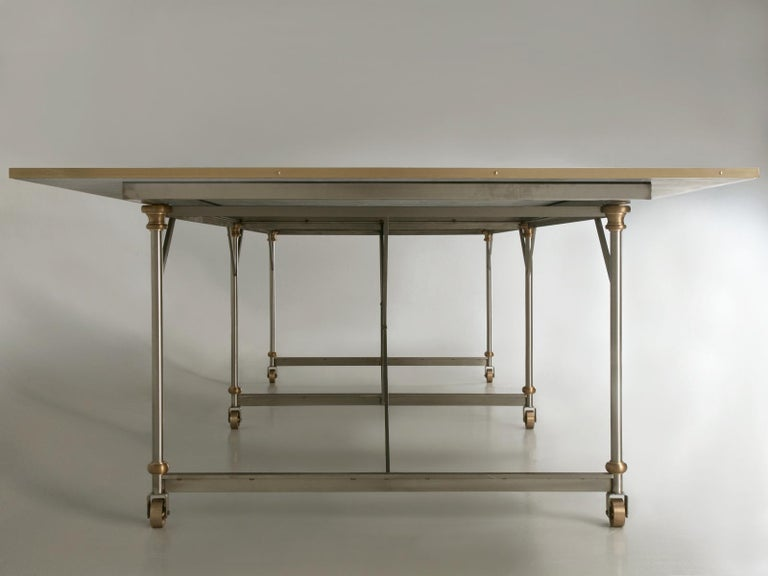Industrial Style Stainless Steel and Solid Bronze Table Base, Marble Optional For Sale 4