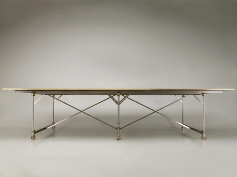 Industrial Style Stainless Steel and Solid Bronze Table Base, Marble Optional In New Condition For Sale In Chicago, IL