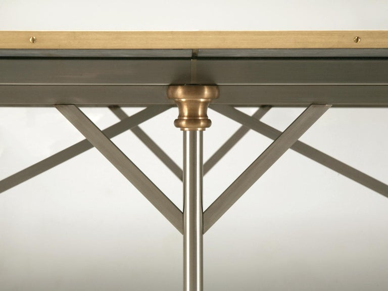 Contemporary Industrial Style Stainless Steel and Solid Bronze Table Base, Marble Optional For Sale