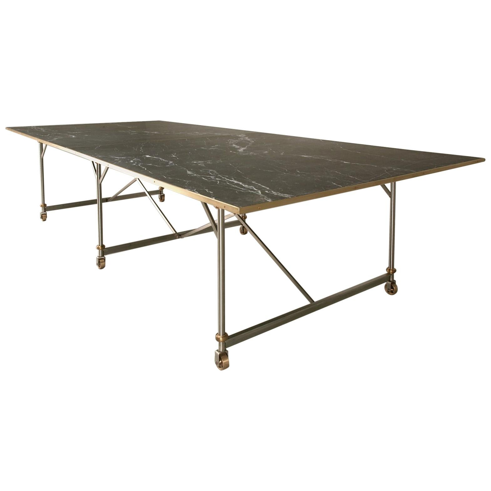 Industrial Style Stainless Steel and Solid Bronze Table Base, Marble Optional