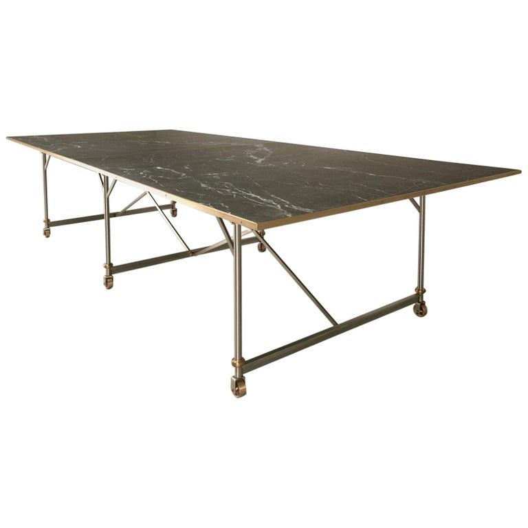 Industrial Style Stainless Steel and Solid Bronze Table Base, Marble Optional For Sale