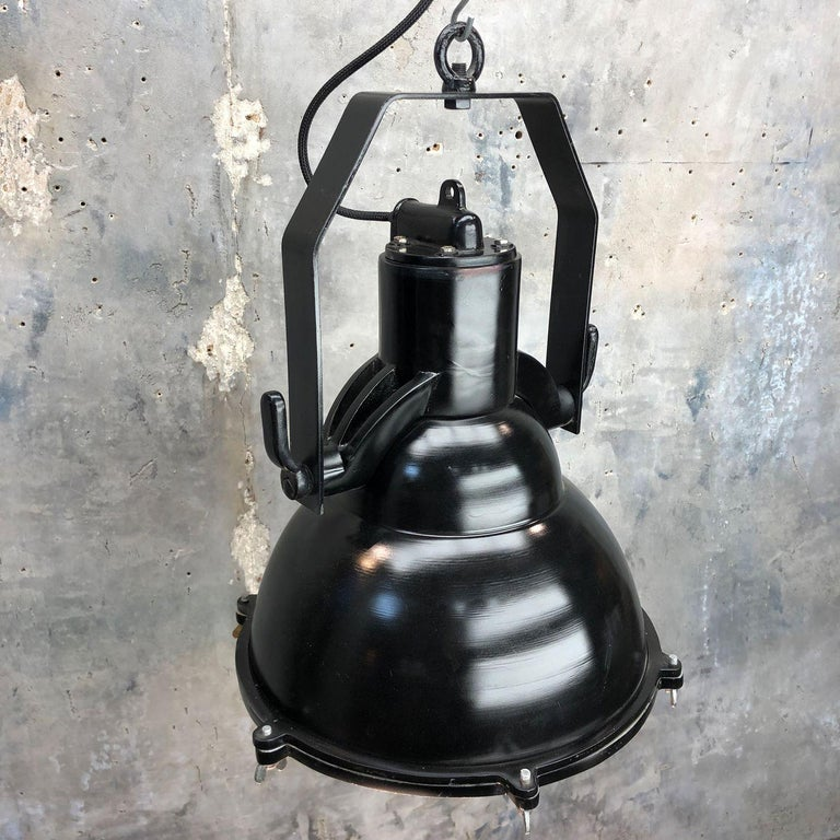 Cast Industrial Style Tilting Black Cargo Ceiling Pendant Light For Sale