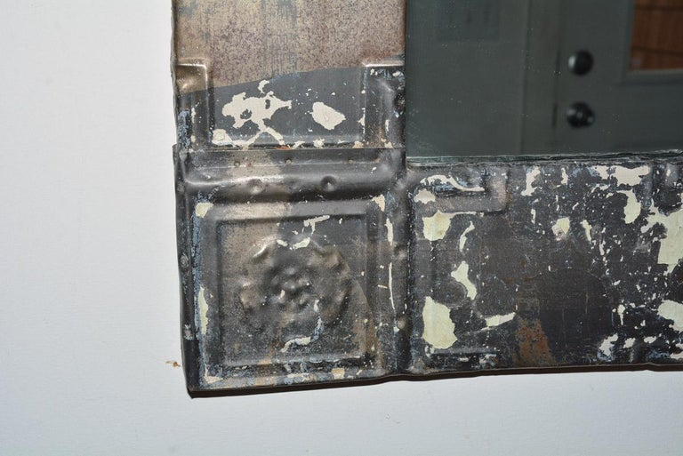 Rustic Industrial style metal clad mirror made from old ceiling tile frame with insert with mirror can hang vertical or horizontal.