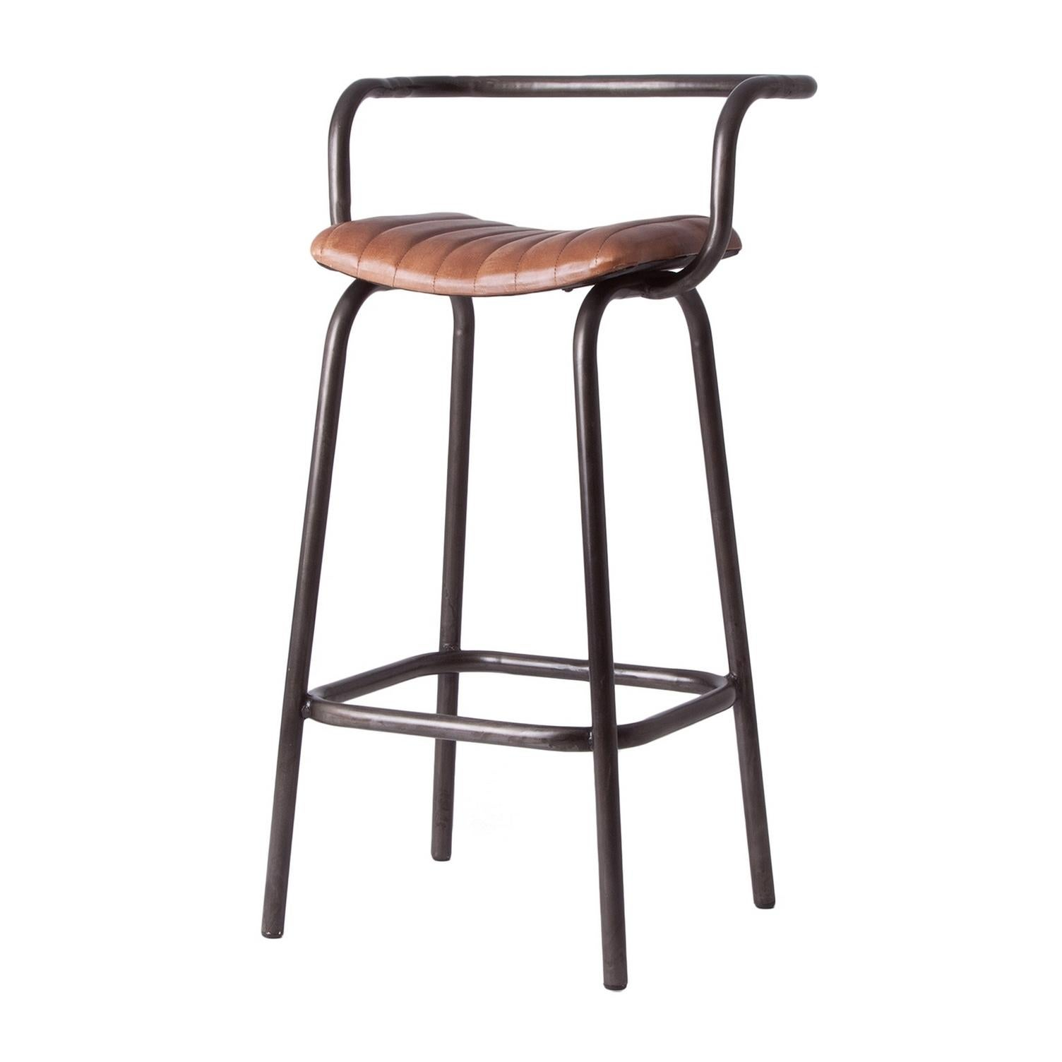 Industrial Style Tubular Metal And Leather Counter Bar Stool For Sale At 1stdibs