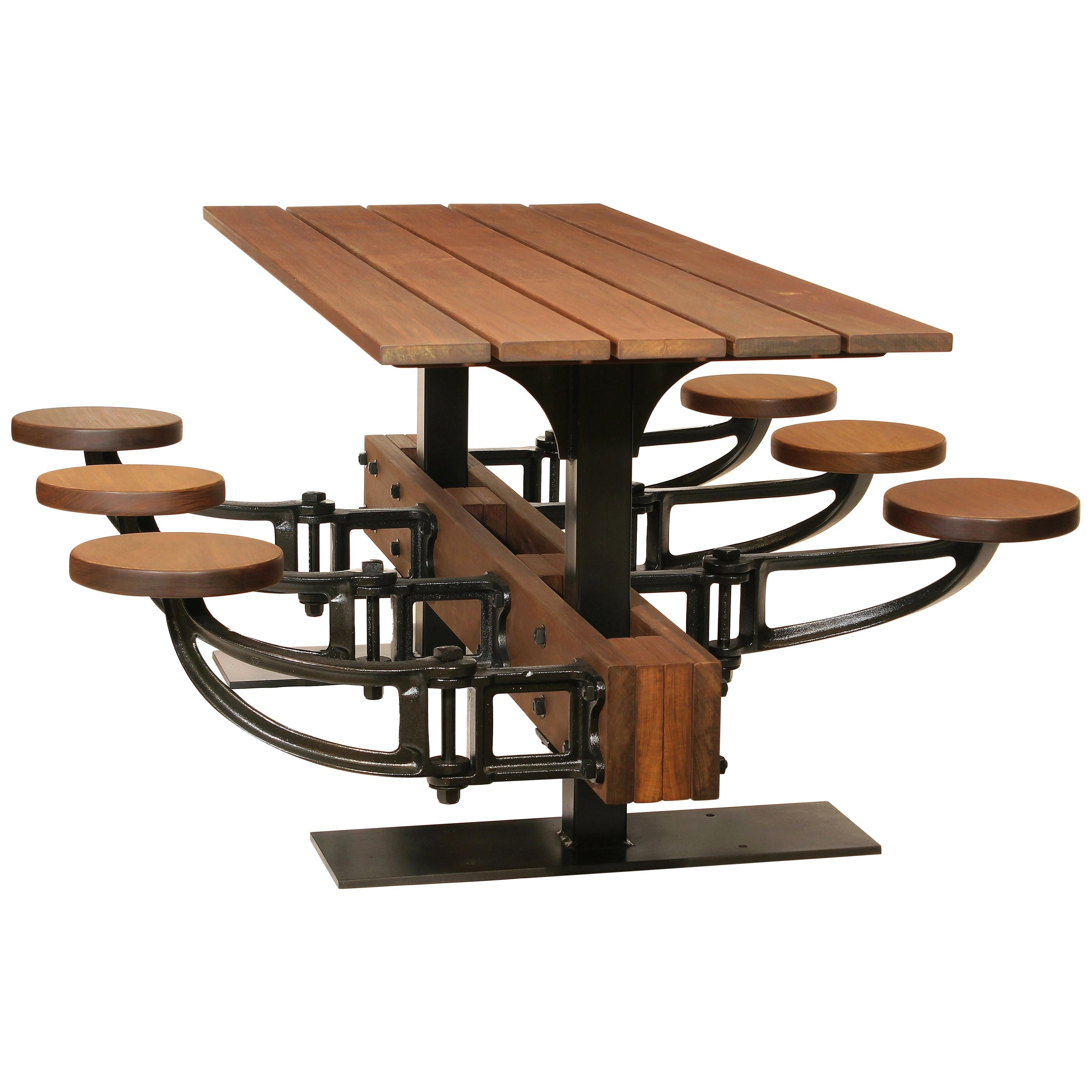 Industrial Swing-Out-Seat Outdoor Dining Table