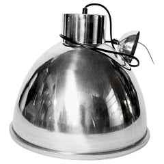 Industrial Swinging Stainless Steel Lights with Wired Glass