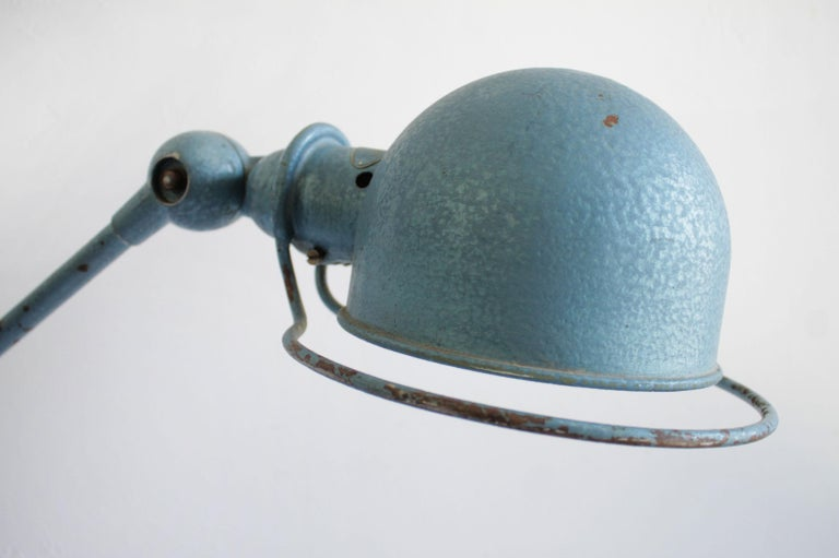 20th Century Industrial Table Lamp in Original Blue Finish For Sale
