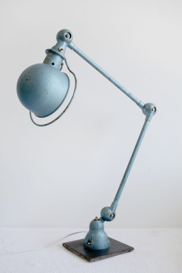 Iron Industrial Table Lamp in Original Blue Finish For Sale