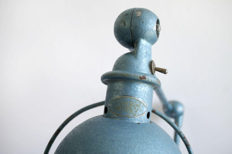 Industrial Table Lamp in Original Blue Finish For Sale 2