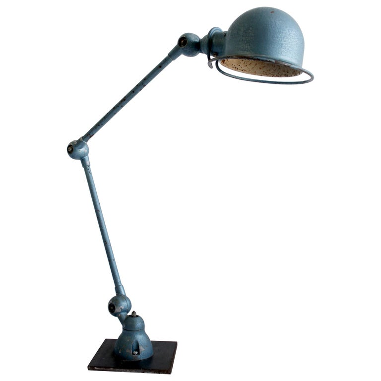Industrial Table Lamp in Original Blue Finish For Sale