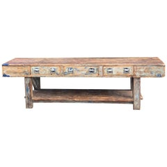 Industrial Table Oak and Pine Work Bench Sideboard Distressed Loft Style Antique