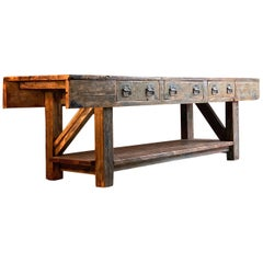 Industrial Table Oak & Pine Work Bench Sideboard Distressed Loft Style Antique