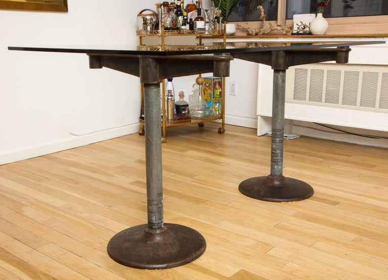 Industrial Table with Glass Top, circa 1950 For Sale 6