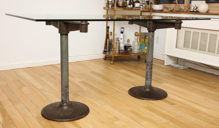Industrial Table with Glass Top, circa 1950 For Sale 7
