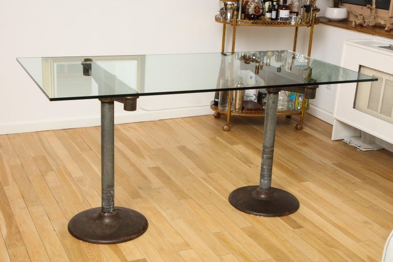 Industrial Table with Glass Top, circa 1950 For Sale 1