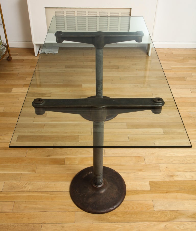 Industrial Table with Glass Top, circa 1950 For Sale 4