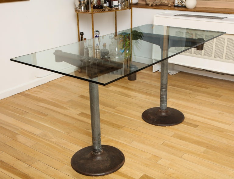 Industrial Table with Glass Top, circa 1950 For Sale 5