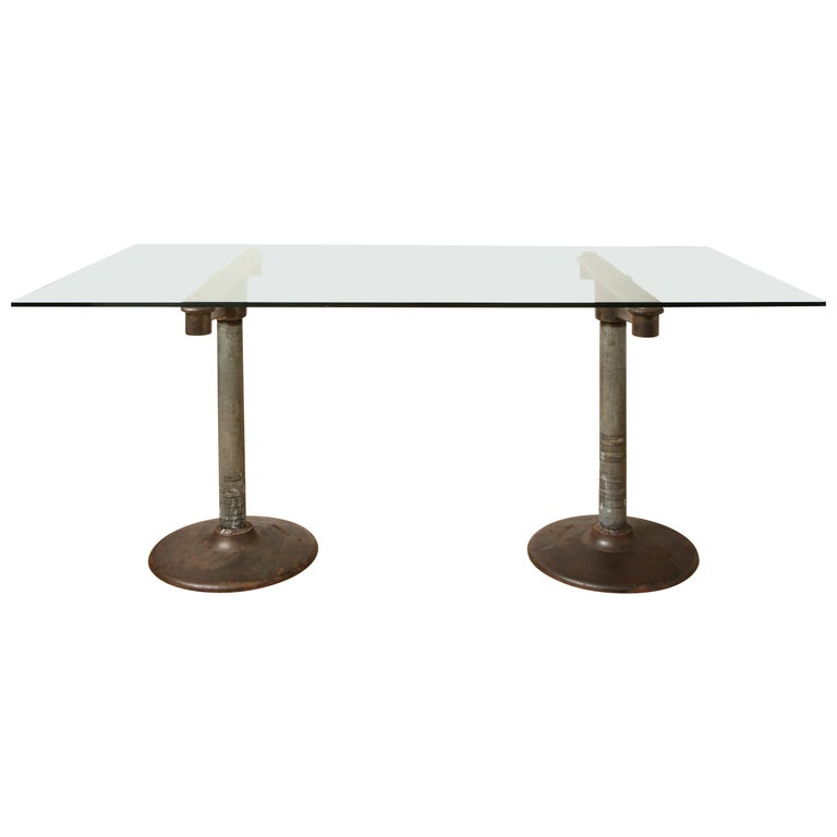 Industrial Table with Glass Top, circa 1950 For Sale