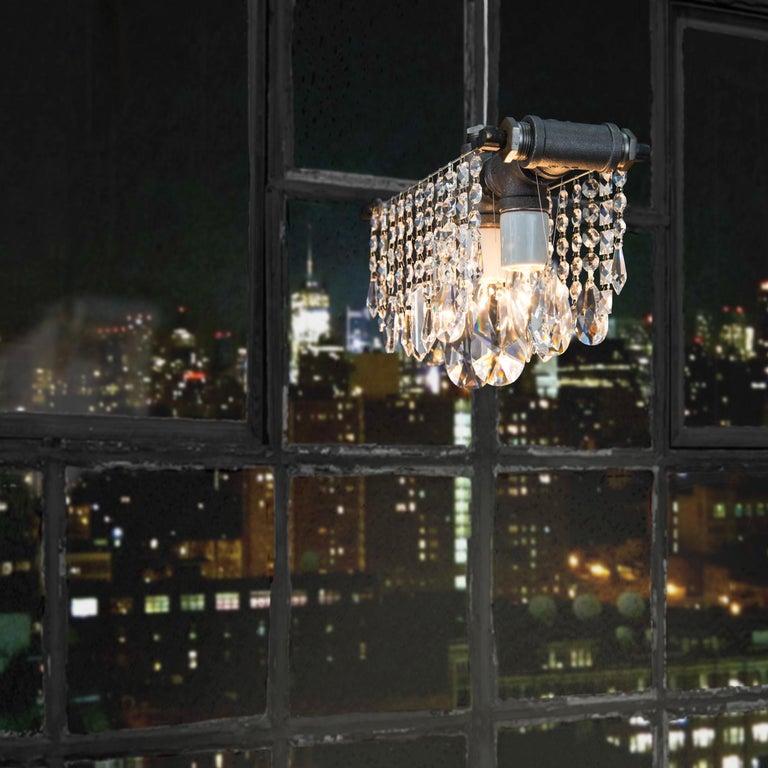 American Industrial Steel Three Bulb Crystal Chandelier Pendant For Sale