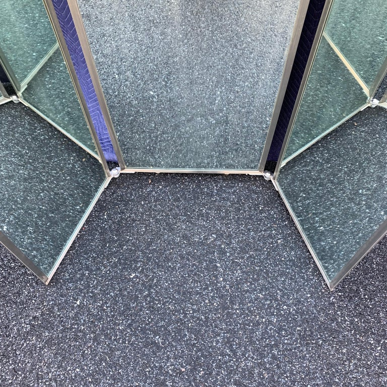 Industrial Three-Panel Mirror and Metal Folding Screen For Sale 11