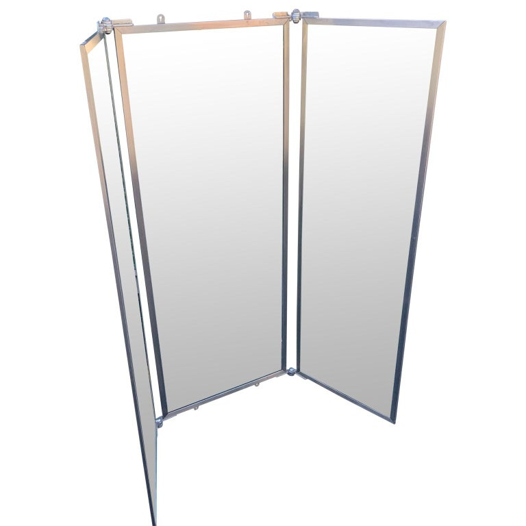American Industrial Three-Panel Mirror and Metal Folding Screen For Sale