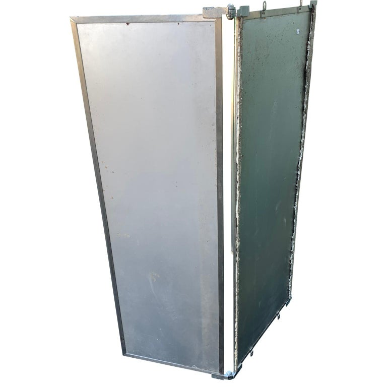 20th Century Industrial Three-Panel Mirror and Metal Folding Screen For Sale