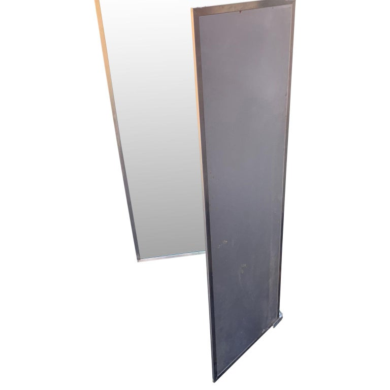 Industrial Three-Panel Mirror and Metal Folding Screen For Sale 1