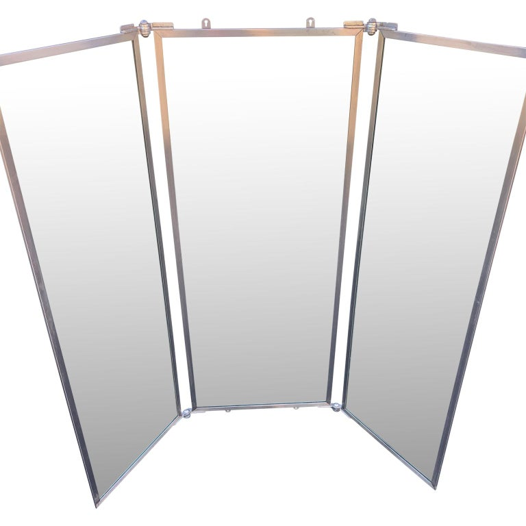 Industrial Three-Panel Mirror and Metal Folding Screen For Sale 3
