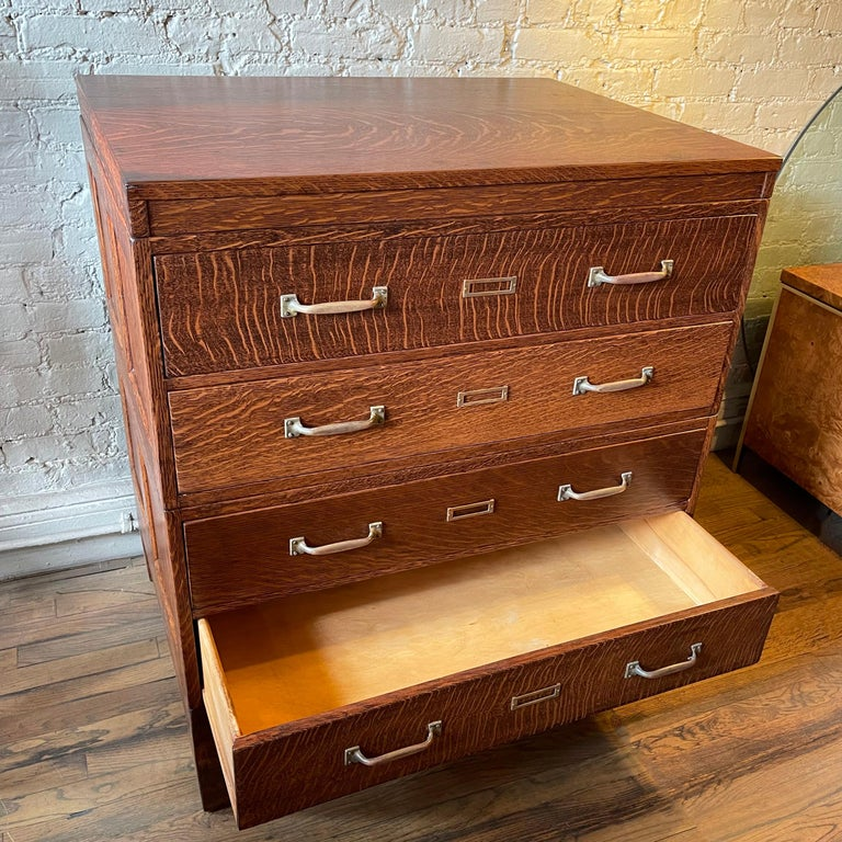 Industrial Tiger Oak Document Cabinet by Library Bureau Makers For Sale 4