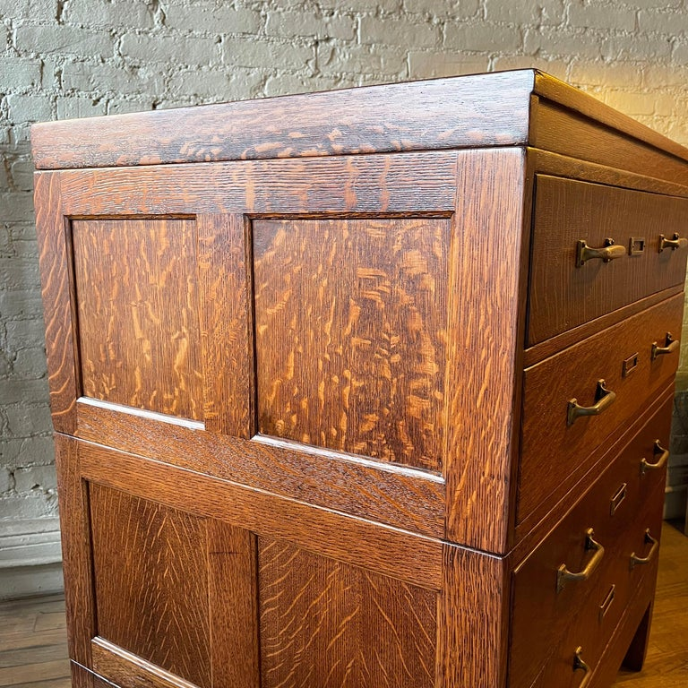 Industrial Tiger Oak Document Cabinet by Library Bureau Makers For Sale 2