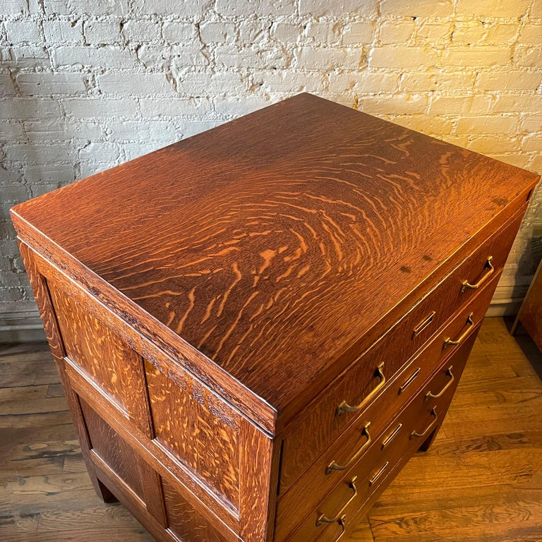 Industrial Tiger Oak Document Cabinet by Library Bureau Makers For Sale 3
