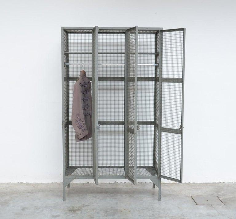 Belgian Industrial Transparent Metal Locker Cabinet For Sale