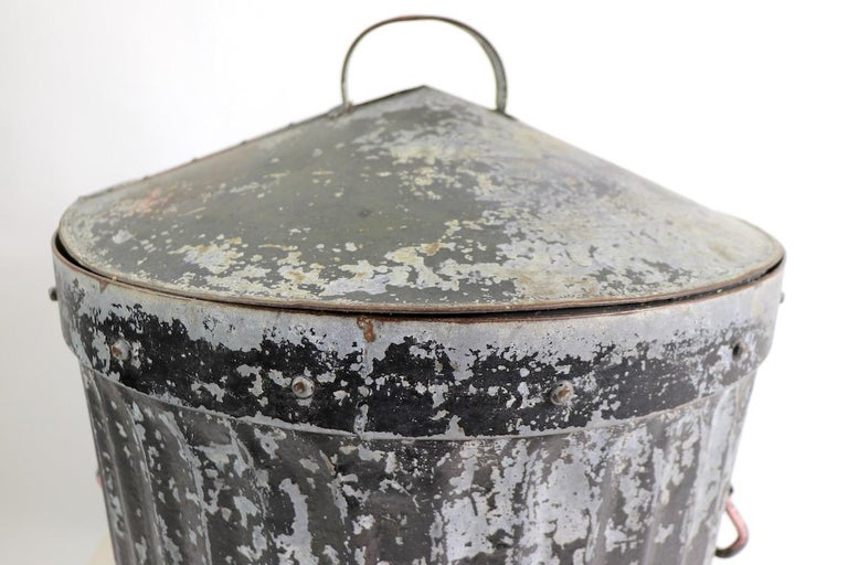20th Century Industrial Trash Garbage Can with Lid For Sale