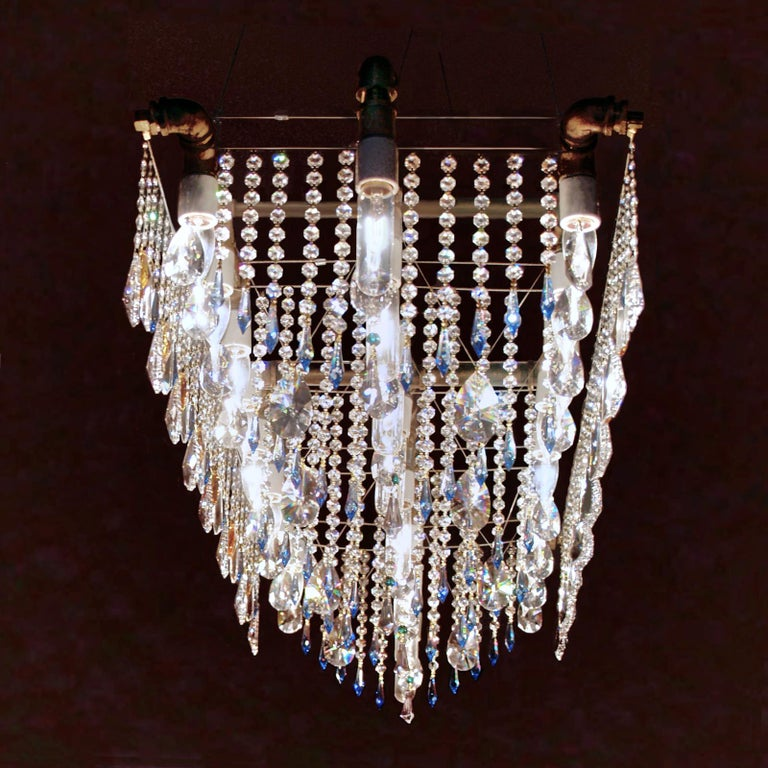 American Industrial Bronze Large Triple Rail Chandelier with Swarovski Accent Crystal For Sale