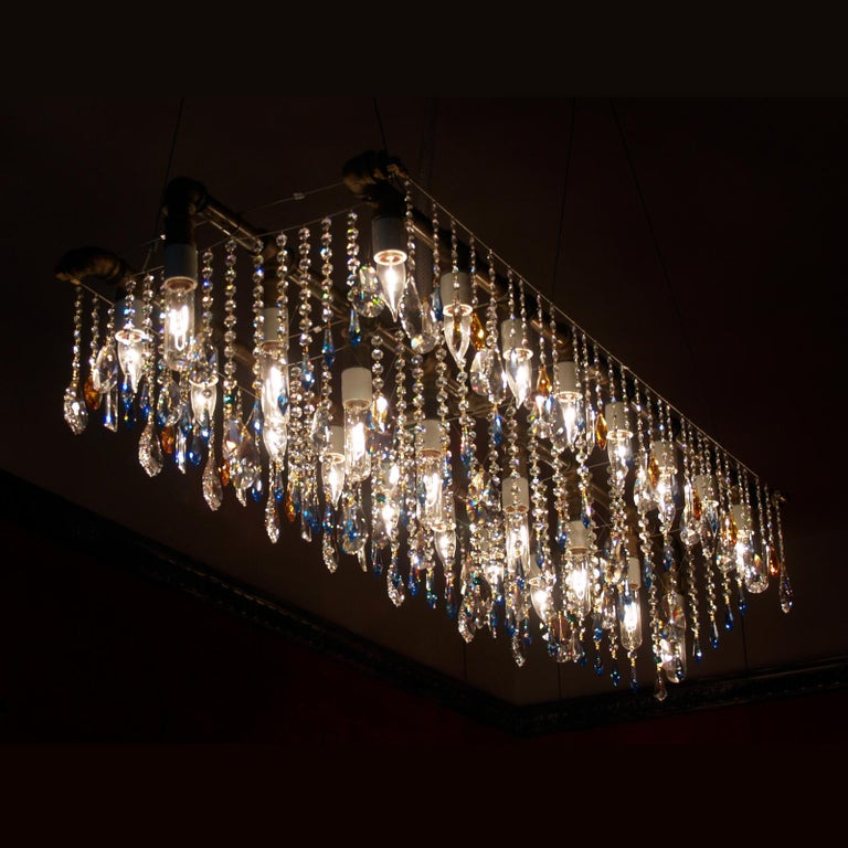Hand-Crafted Industrial Bronze Large Triple Rail Chandelier with Swarovski Accent Crystal For Sale