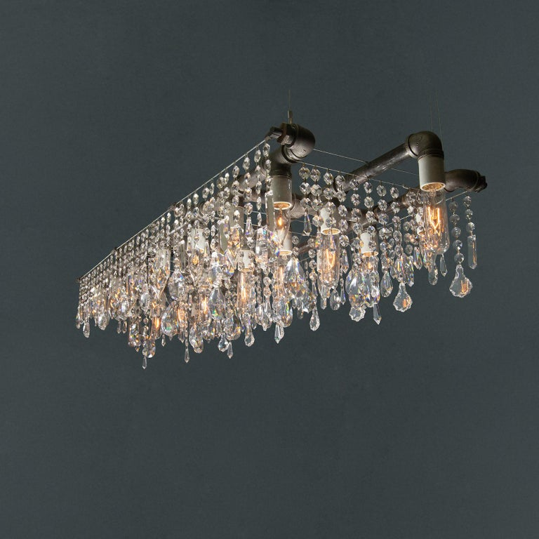 Industrial Bronze Large Triple Rail Chandelier with Swarovski Accent Crystal In New Condition For Sale In Long Island City, NY